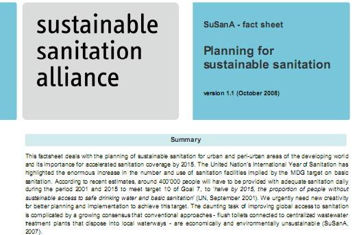 "SuSanA fact sheet ""Planning for sustainable sanitation"""