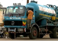 Waste transport truck in Senegal