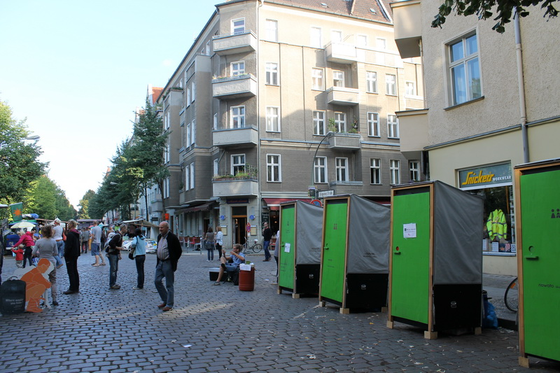 Compost toilets at Weltfest in Berlin, Germany, 2013