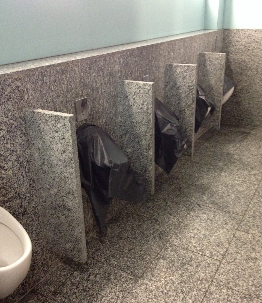 A snapshot of closed urinals in a public toilet / restroom - seen at Frankfurt Airport in Oct. 2013. #fail